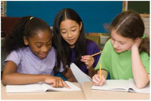 elementary kids studying